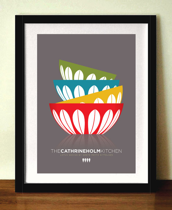 cathrineholm bowls kitchen poster mid century modern. Black Bedroom Furniture Sets. Home Design Ideas